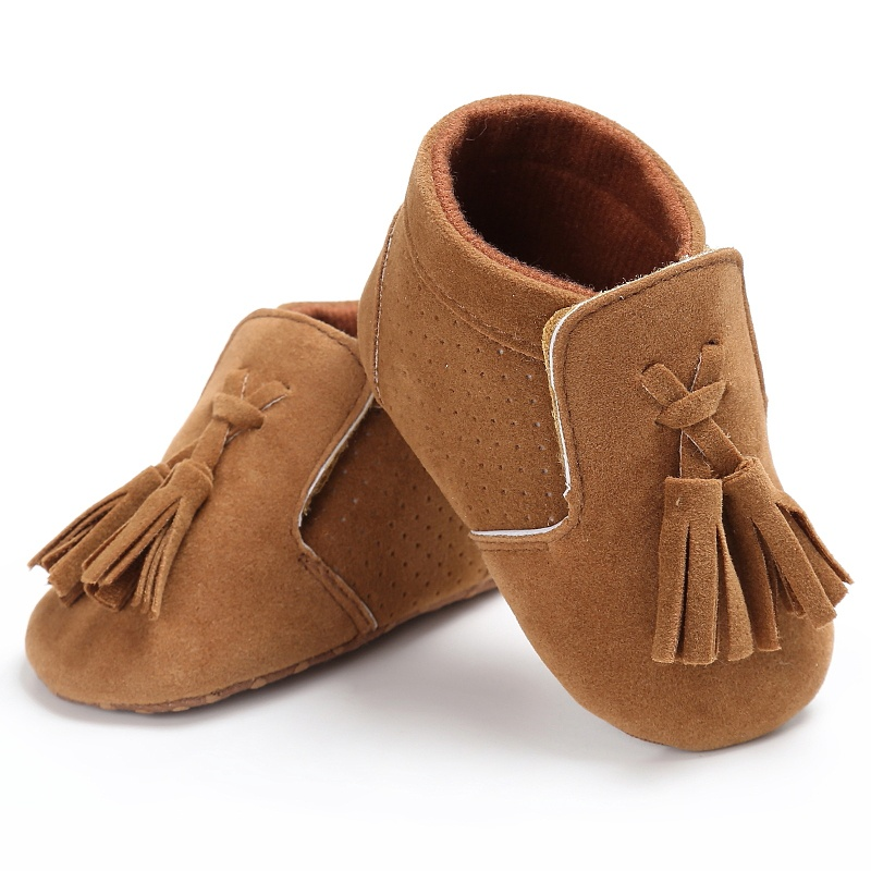 Spring Autumn Infant Baby Girl Boy Suede PU Tassel Toddler Soft Sole Antiskid First Walkers Shoes 0-18M