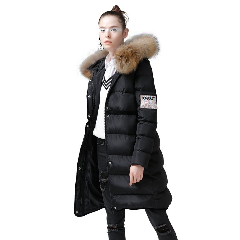 Toyouth 2019 Winter Character Printing Duck Down Coats Hoodies Long Down Coats Female Embroidery Jacket