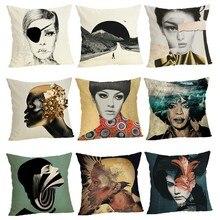 Creative woman Sofa Cushion Case Home Decor 45Cmx45Cm linen Square Sofa Bed Car print Pillow Cover Linen cushion cover