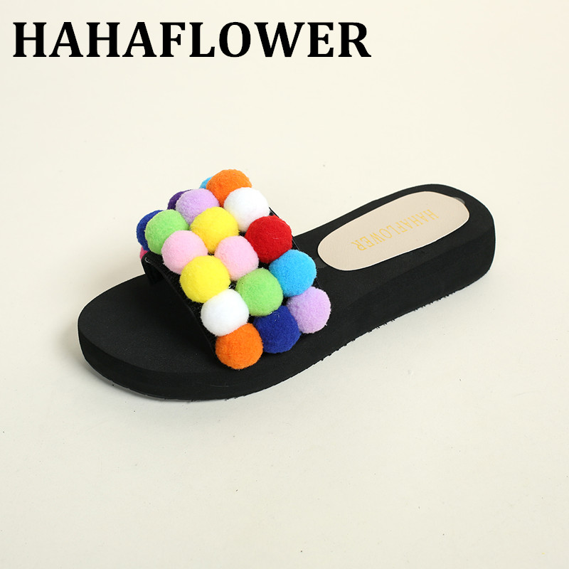 HAHAFLOWER New 2017 Women New Summer Casual Small Fur Ball Slippers Female Flat Heel Indoor Shoes Casual Beach Slippers Hot sale 4pcs new for ball uff bes m18mg noc80b s04g
