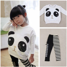 Fashion Kids Baby Girls 2Pcs Sets Long Sleeve Panda T-Shirt Top+Striped Leggings 2019 недорого