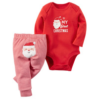 Autumn Newborn Baby Girls Clothes Funny MY First Christmas Letter Boys Bodysuit Stripe Pants 2Pcs Outfits