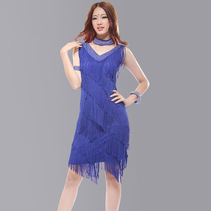 2019 Vintage Bling Fashion V Neck Sequin Fringe Charleston Flapper Stage Dance Clothing Dresses Wear Costumes