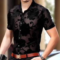 Hot Sale New Fashion Summer Spring Mens Hollow Floral Dress Shirt Sexy Transparent Male Short Sleeve