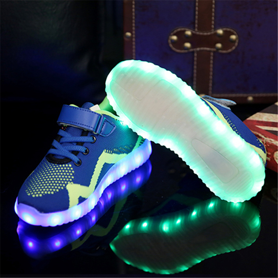 Children Girls Led Luminous Sneakers Kids Sports Led Running Shoes Sapato Feminino Flash Sneakers With Light Up Soles 50Z0040 new hot sale children shoes pu leather comfortable breathable running shoes kids led luminous sneakers girls white black pink