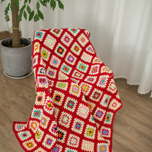Colorful Handmade hook flowers cotton Lace Chic Crocheted red Blanket / Many Uses table cloth / Unique Gifts grandmother memory