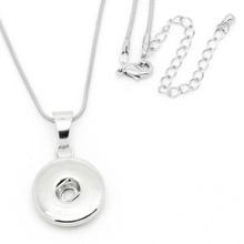 PAPAPRESS Wholesale 10pcs/lot Silver Snap Buttons Pendant with Snap Button Chain Necklace Fit 18/20mm Necklace Snaps Jewelry