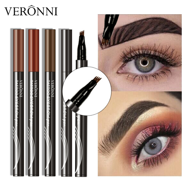VERONNI 4 Colors Eyebrow Pencil Natural Maquillaje 3D Eyebrows Tint Eye Brow Microblading Eyebrow Tattoo Pen Extension Liquid