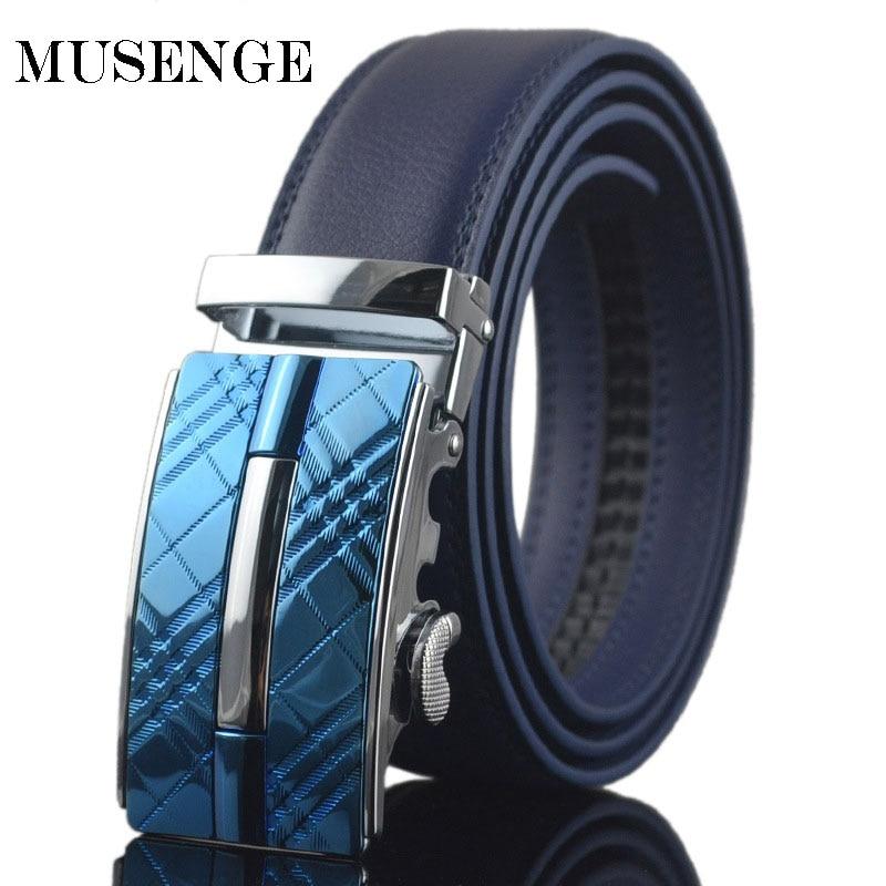 MUSENGE jostas ādas josta vīriešiem dizaineru jostas vīriešiem augstas kvalitātes cinturones Hombre Ceinture Homme Cinto siksna automātiska sprādze zila