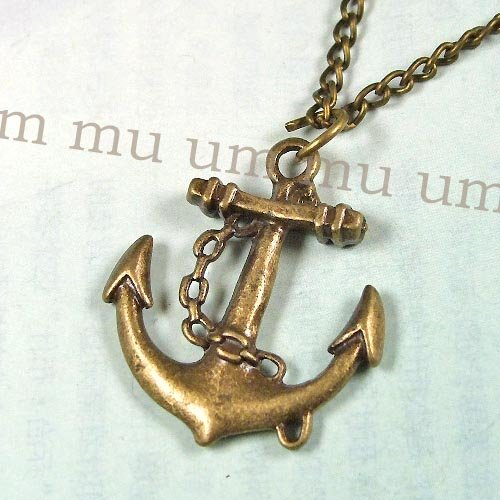 US Movie Pirates of the Caribbean chain free shipping 6pcs/lot Jewelry metal mens New bronze Boat ship Anchor Necklace Pendant