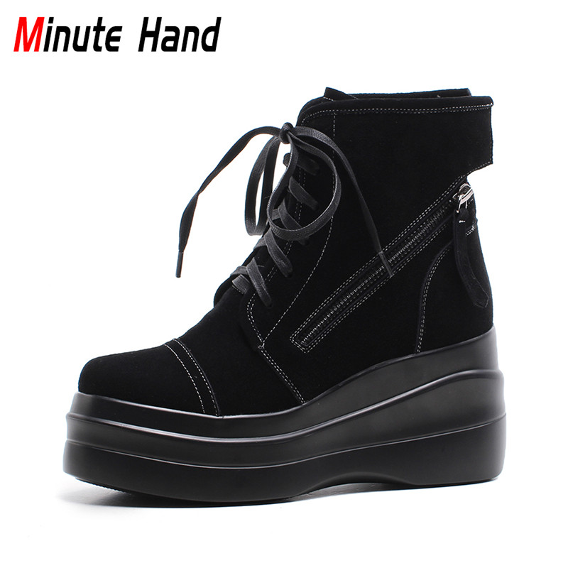 Фотография Minute Hand 2018 New Fashion Genuine Leather Womens Lace Up Platform Ankle Boots Wedge High Heels Winter Warm Shoes Side Zipper