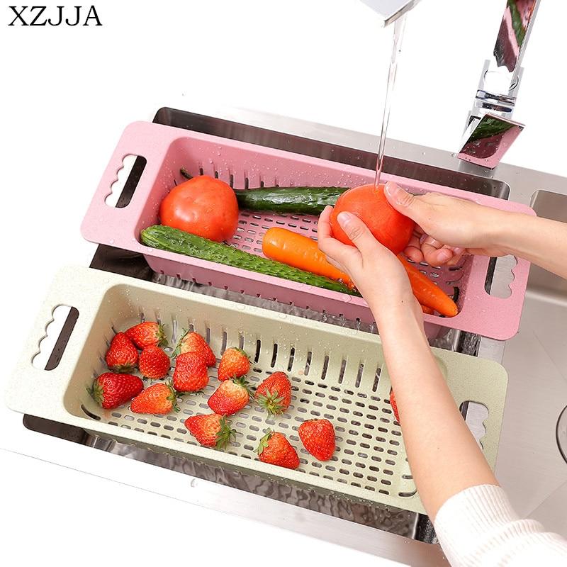Xzjja Многофункциональный Кухня раковина стойку Овощи Фрукты корзина утечка Посуда организовать сушки полка Кухня держатель для хранения