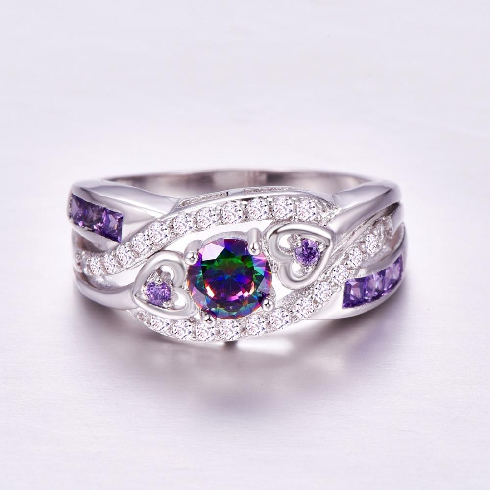 Oval Heart Cut Design Multicolor & Purple White CZ Silver  Ring Size 6 7 8 9  4