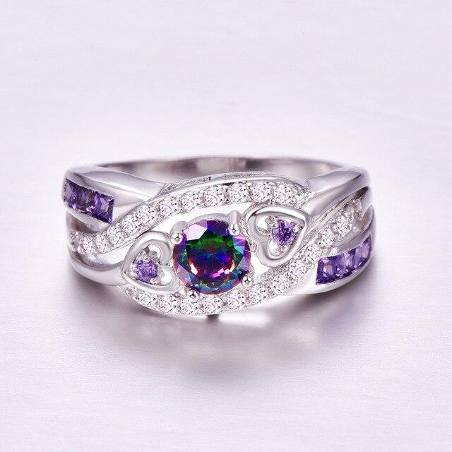 lingmei New Arrival Oval Heart Cut Design Multicolor & Purple White CZ Silver Color Ring Size 6 7 8 9 Fashion Women Jewelry Gift 4