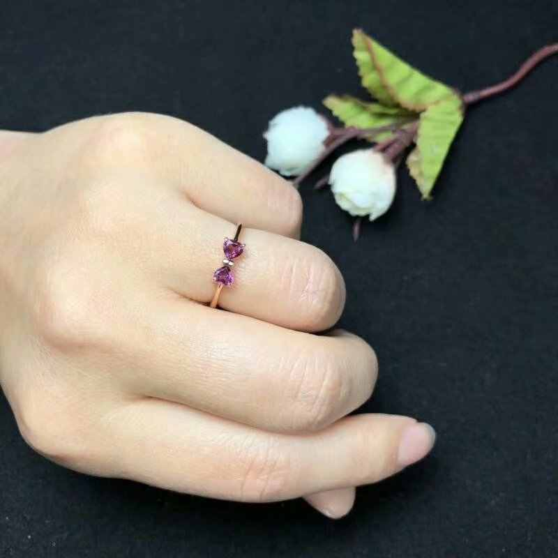 SHILOVEM 925 sterling silver Natural magnalium garnet rings open fine Jewelry women wedding bands wholesale 4*4 bj040401ags