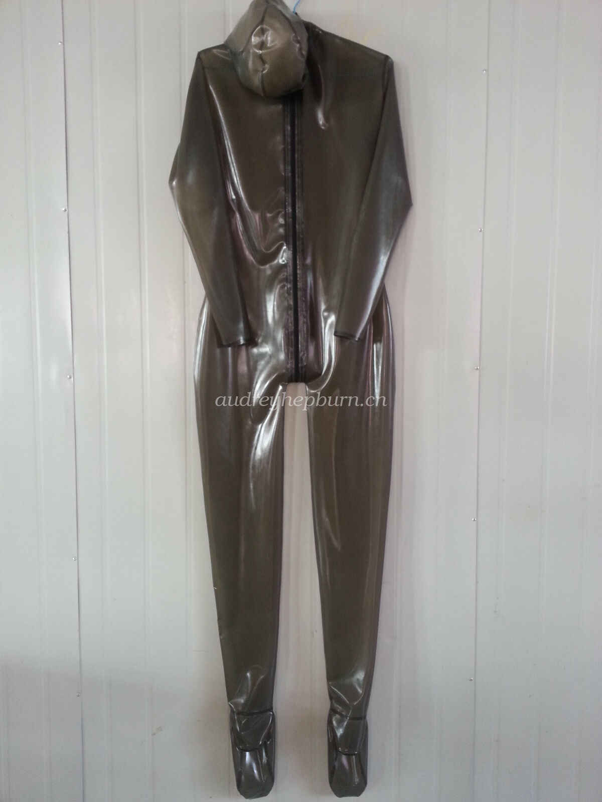 Latex Rubber Bodysuit Suit Catsuit With Mask Headgear Smoke Gray Size XXS-XXL