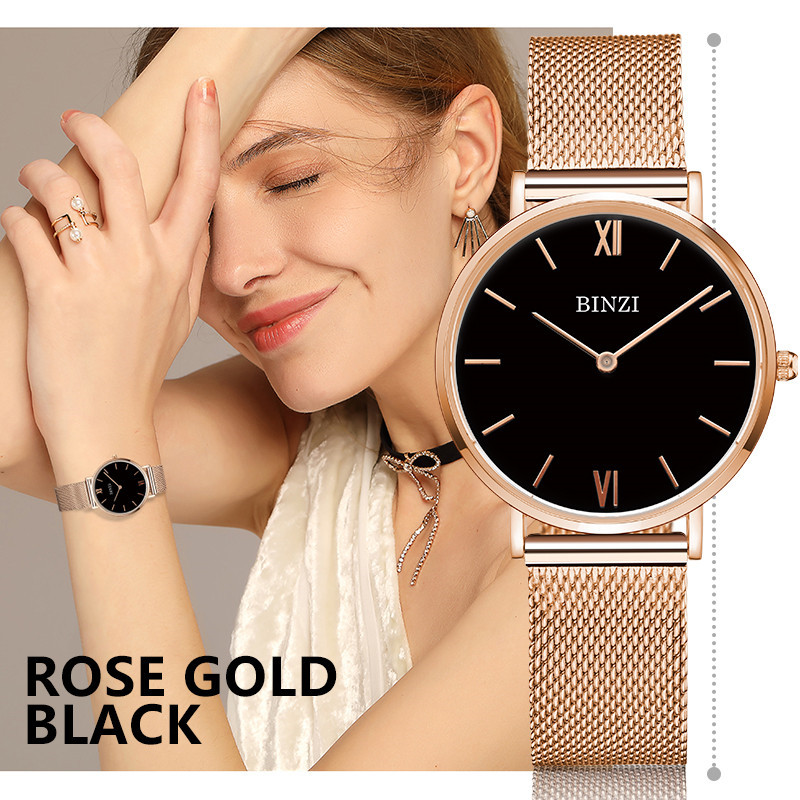 Women Watches BINZI Luxury Brand Quartz Watch Women Gold Silver Stainless Steel Watch Ladies Fashion Wristwatch Relogio Feminino silver diamond women watches luxury brand ladies dress watch fashion casual quartz wristwatch relogio feminino