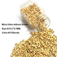 Aluminum Micro Links 4.0*2.7*2.7MM 1000Pcs/Bottle Blonde #13 Hair Extension Beads Micro Bead Hair Extensions Accessories