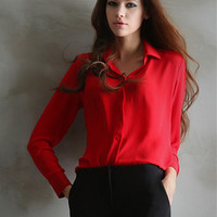 Women Blouses Tops 2016 Summer Solid Long Sleeve Chiffon Shirts Ladies Office Shirt Red Black White