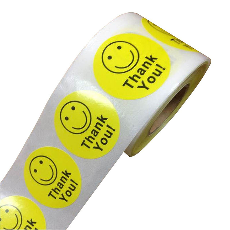 "Thank You Smiley Happy Face Stickers 2"" Adhesive Labels Removable And Water Resistant Decorative Sticker"