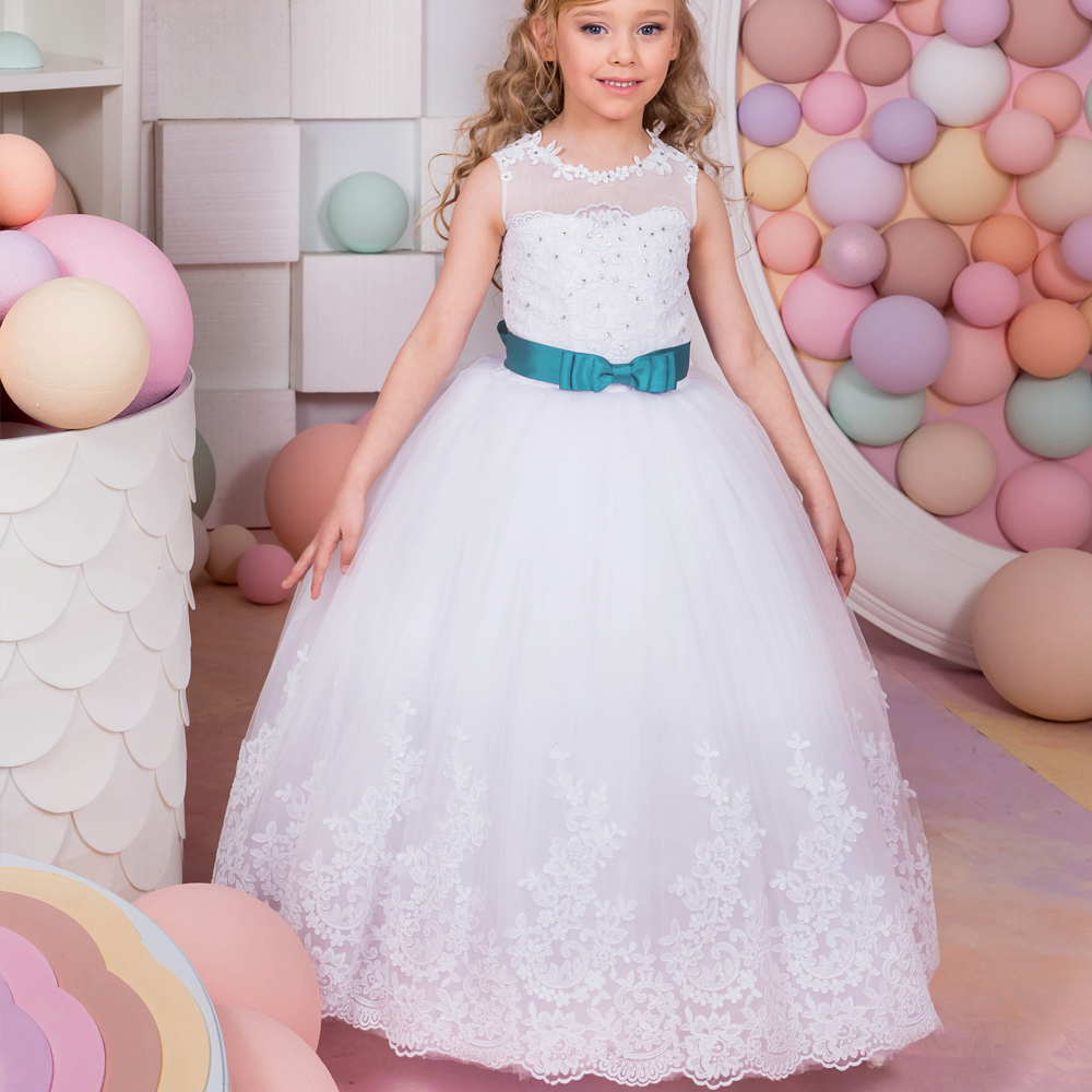 2017 New Arrival First Communion Gowns Blue Belt Beading Sleeveless Ball Gown Flower Girl Dresses for Wedding Vestidos Longo Hot 4pcs new for ball uff bes m18mg noc80b s04g