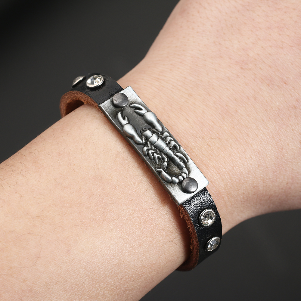 Mens Vintage Scorpion Leather Bracelet