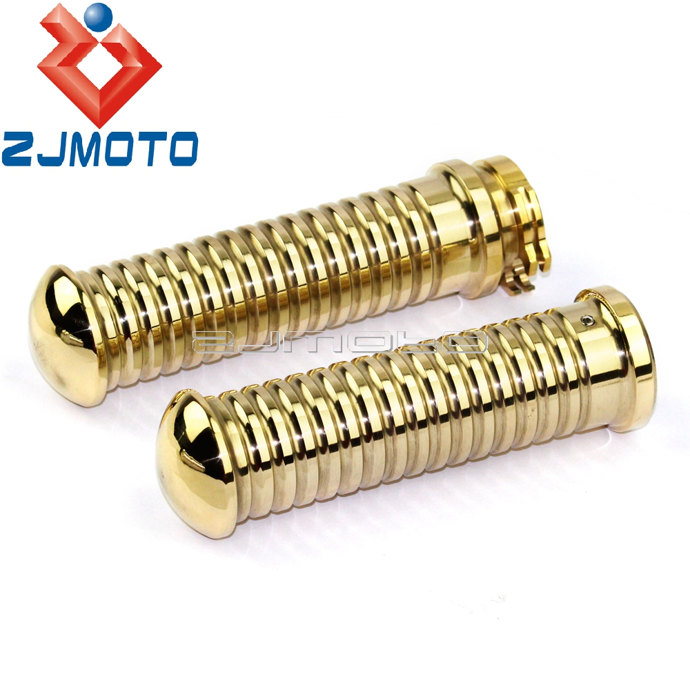 <font><b>Motorcycle</b></font> Rough Crafts Solid Brass 25mm Handle <font><b>Grips</b></font> For Harley Honda <font><b>Yamaha</b></font> Cafe Racer Choppers Cruiser <font><b>1</b></font>