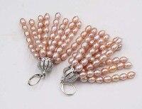 purple freshwater pearl hook earrings 3 5mm wholesale beads nature FPPJ woman 2017