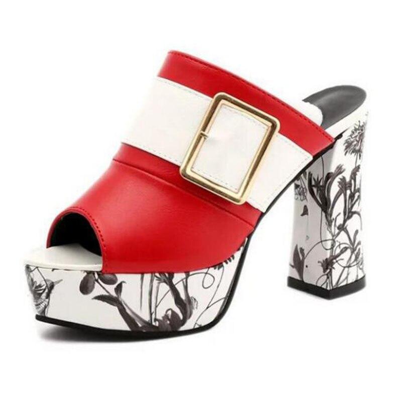 Negro Zapatillas Whh105 Mujer rojo Alto 34 Hebilla 40 Señora Peep Verano Sandalias blanco De Tamaño Tacón Toe Mulas 2019 Zapatos Mujeres AqptwUq1