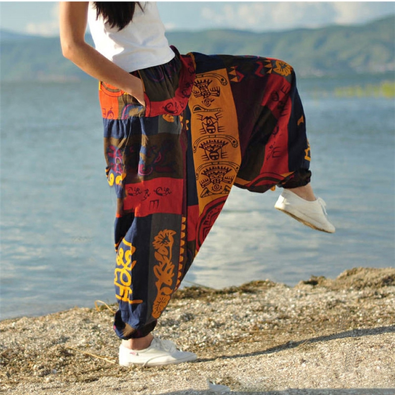 Women Causal Print Hippy Baggy Boho Elastic Cross-Pants Loose Trousers Aladdin Lantern Wide Leg Cotton Linen Harem Pants Plus
