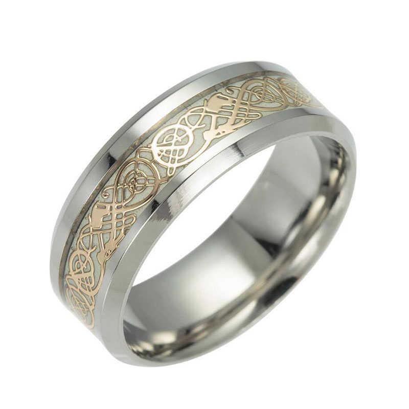 1 pçs de aço inoxidável luminoso dragão anéis unissex acessórios fluorescentes brilhantes anéis para presente feminino masculino