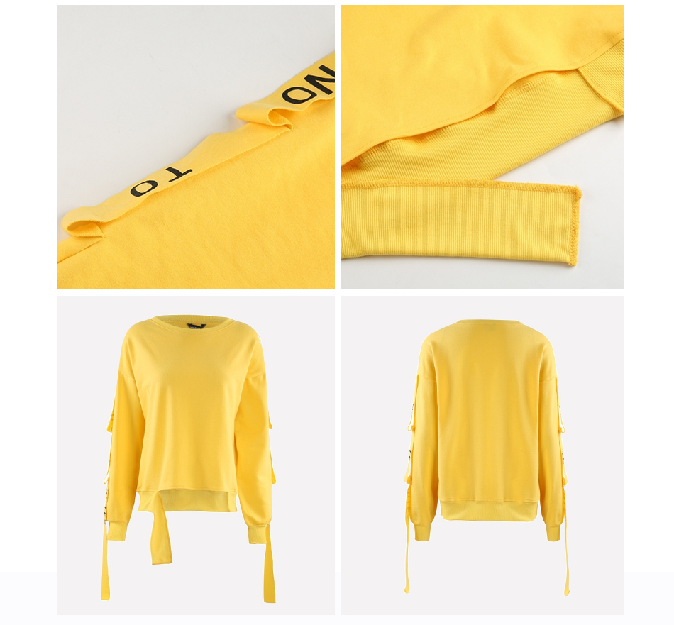 HDY Haoduoyi Brand 2017 New In Yellow Women Sweatshirt Full Sleeve Lace Up Split Letter Print Female Tops Preppy Style Pullovers 7