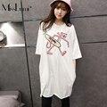MissLymi Plus Size T shirt Mulheres 2017 Novo Verão Ocasional Bordado Tigre dos desenhos animados O-pescoço Manga Curta Branco camisa Longa T Solta XL