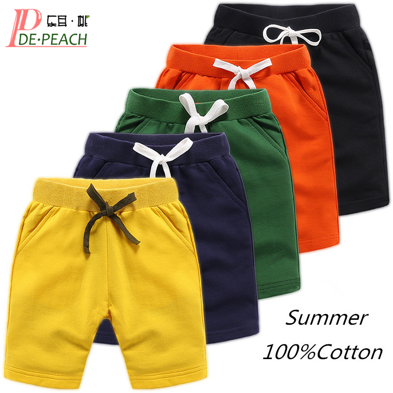 DE PEACH Unisex Summer Cotton Baby Boys   Shorts   Pants Teenager Kids Boys Girls Solid Casual   Shorts   For 1-12Years Children Clothes