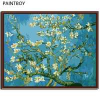Abstract Van Gogh Frameless Picture Painting By Numbers Of Apricot Home Decor DIY Canvas Oil Painitng