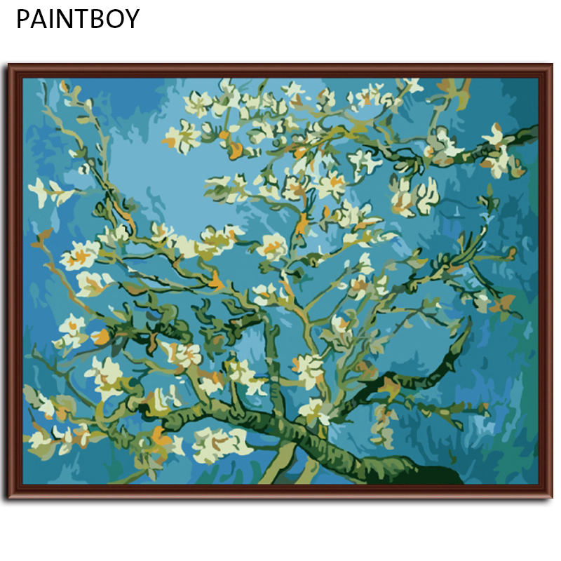 PAINTBOY Framed Picture Painting By Numbers Of Apricot Home Decor DIY Canvas Oil Painitng Living Room Wall Art G159
