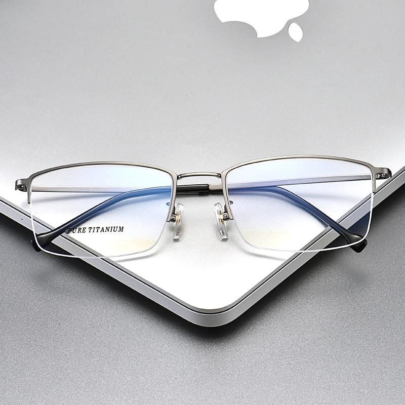 Pure Titanium Glasses Frame Men Prescription glasses Half frame Big size Eyeglasses frame 965 Optical glasses