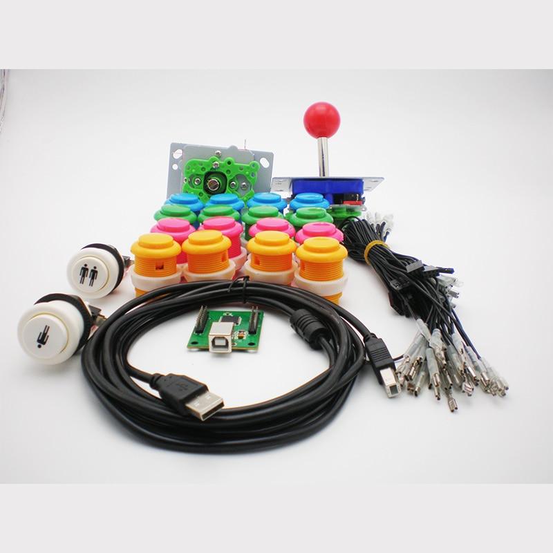 DIY Arcade bagian Bundel kit dengan tombol joystick 2player usb game controller kabel untuk Membangun Mesin Arcade Game Anda