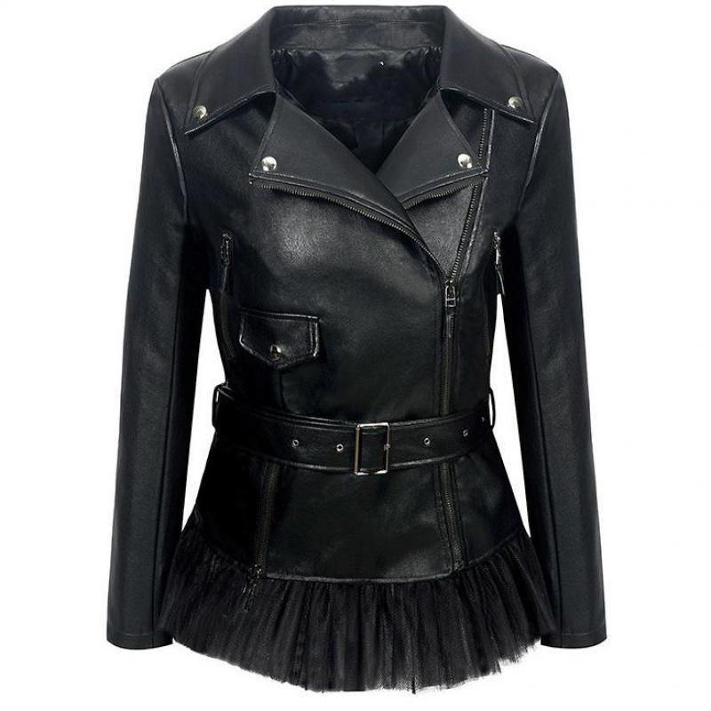 2019 Fashion New Lapel Zipper Leather Jacket Hem Stitching Mesh Dress Jacket Pu Jacket Woman