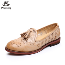 Genuine leather woman size 8 designer vintage flat shoes round toe handmade beige blue 2017 sping oxford shoes for women