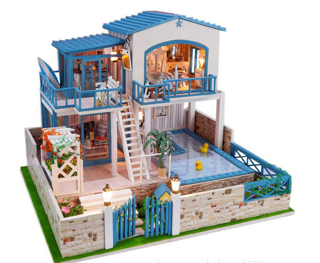 Creative 2 Floors Large Size Wooden Doll House