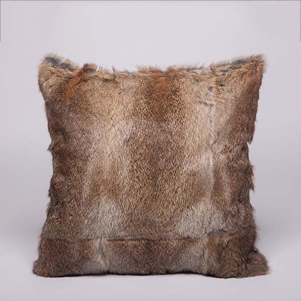 Rabbit fur pillow case color brown whole skin