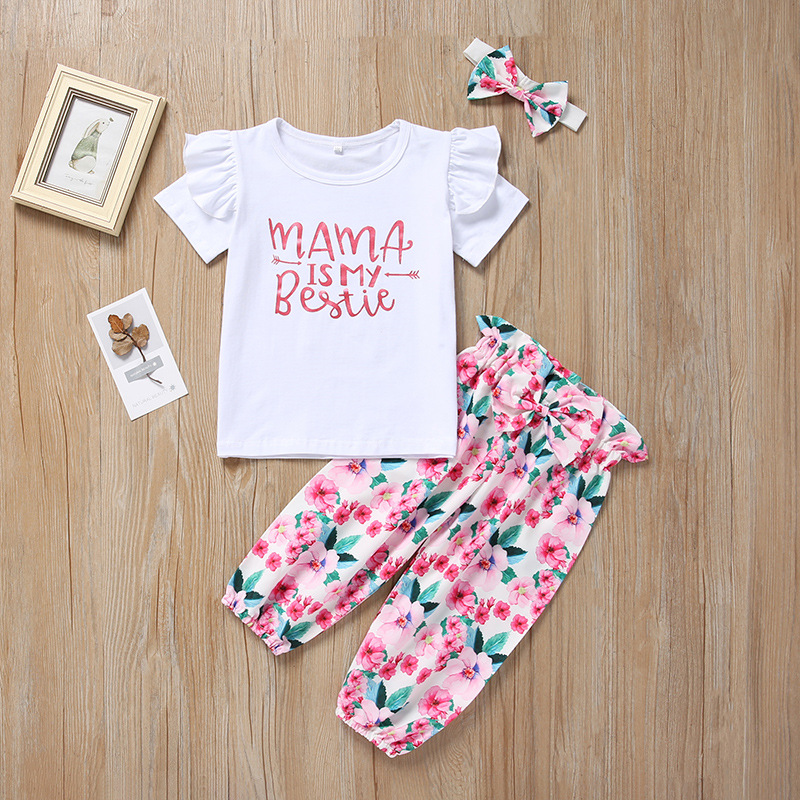 3PCS SETS Newborn Baby Girl Clothes 2019 Summer Letter Mama Is My Bestie T-shirts+Floral Pants+Headband Infant Baby Girl Outfits