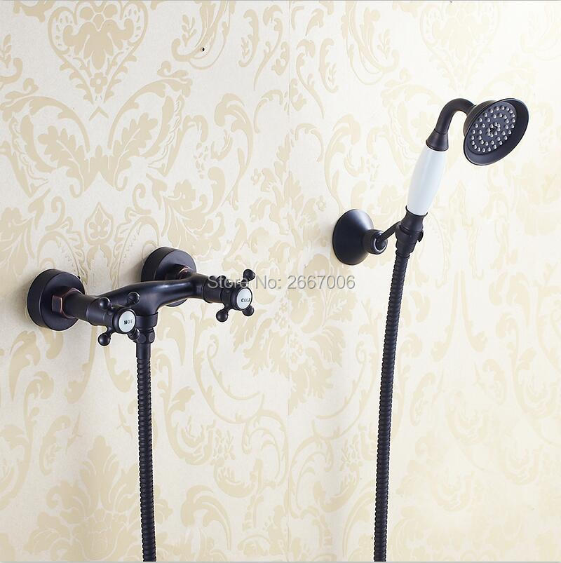 Free shipping Dual Handles Shower faucet Black Bronze Shower Faucet Handheld Shower Head Bathroom Faucet Set Mixer Tap ZR034