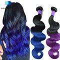 8A Ombre Mink Brazilian Virgin Hair Body Wave Blue Purple Ombre Human Hair Weave 3 Bundles Unprocessed Annabelle Hair Extensions