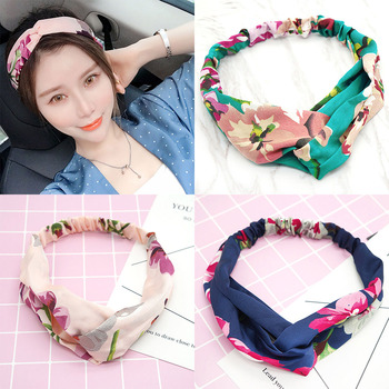 New Women Flower Soft Headbands Fashion Cross Knot Elastic Hairbands Bandage Bandanas Girls Hair Bands Hair Accessories Headwrap