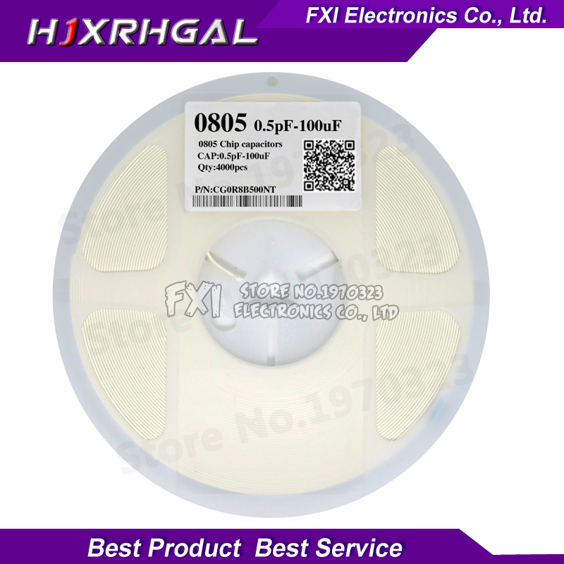 1reel 4000pcs 0805 <font><b>50V</b></font> SMD Thick Film hjxrhgal Chip Multilayer Ceramic <font><b>Capacitor</b></font> 0.5pF-47uF 10NF 100NF 1UF 2.2UF 4.7UF <font><b>10UF</b></font> 1PF image