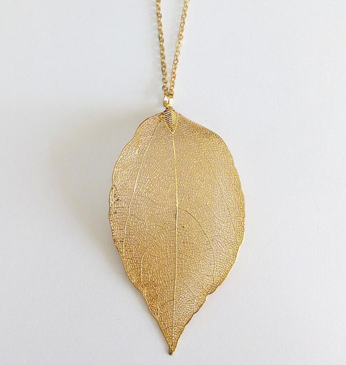 Free Shipping - wholesale necklace 18k Leaf Necklace Mao Yilian Gold Leaf Necklace