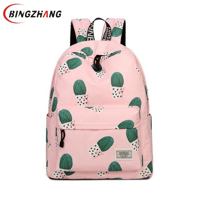 Women Backpack Travel Cactus Print Multi-Functional Shoulder Knapsacks For Teenager Girls School Bags Mochila Feminina L4-3116