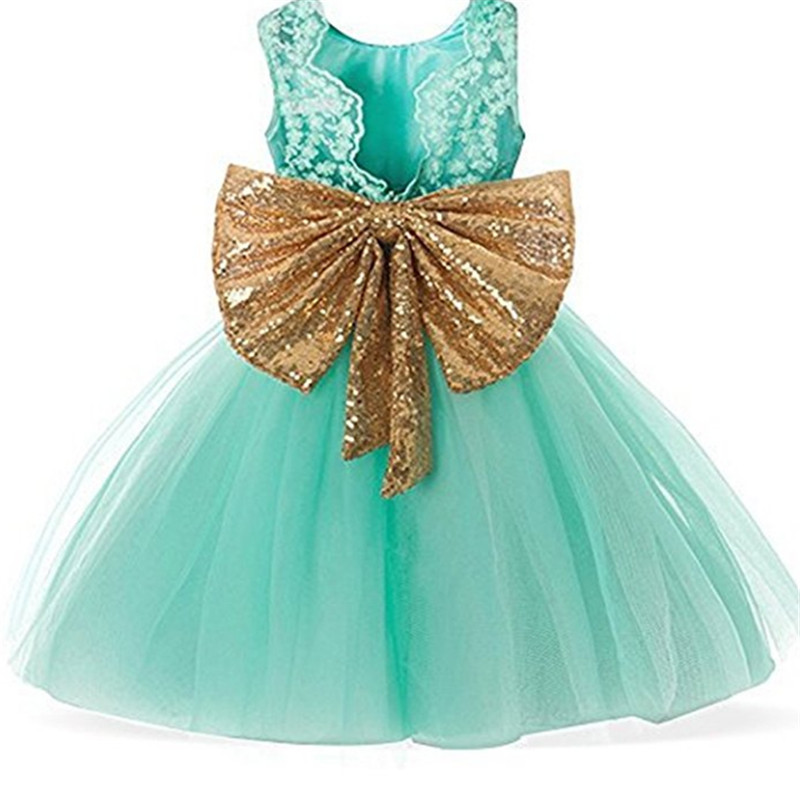 0-4 Years Baby Flower Girl Dress For Wedding Fancy Lace Princess Girls Party Wear Gold Sequins Bow Little Girl Summer Frocks